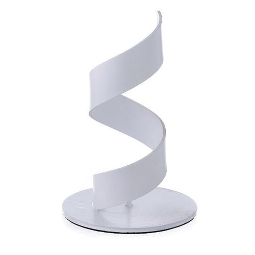 Portacandela spirale alluminio bianco 4 cm 2