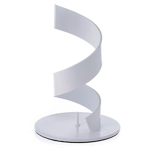 Spiral candle holder of white aluminium 1 1/2 in 1