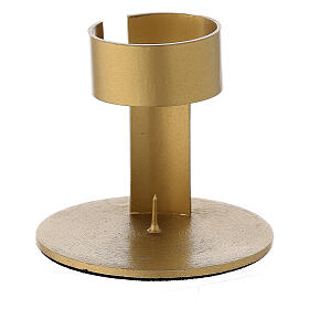 Gold plated aluminium candle holder with open band 1 1/2 in s1