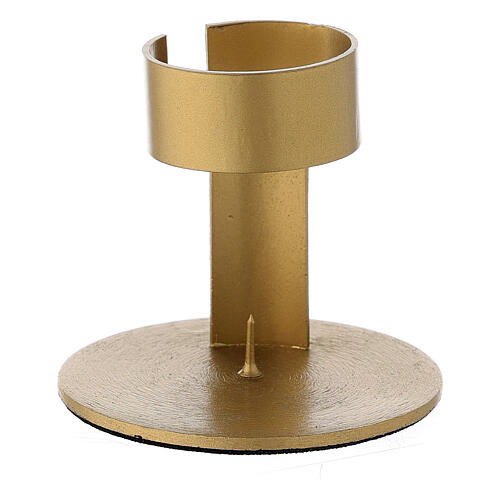 Gold plated aluminium candle holder with open band 1 1/2 in 1
