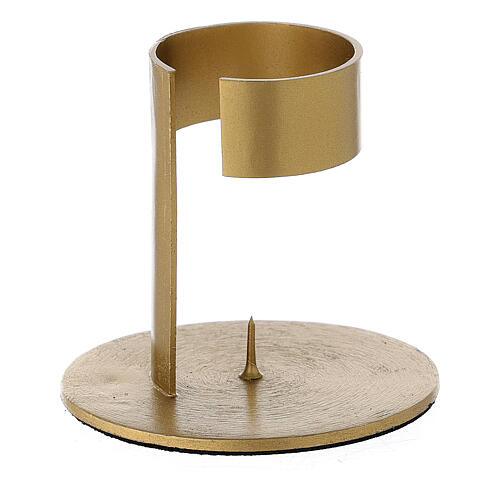 Gold plated aluminium candle holder with open band 1 1/2 in 2