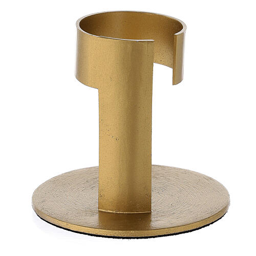 Gold plated aluminium candle holder with open band 1 1/2 in 3