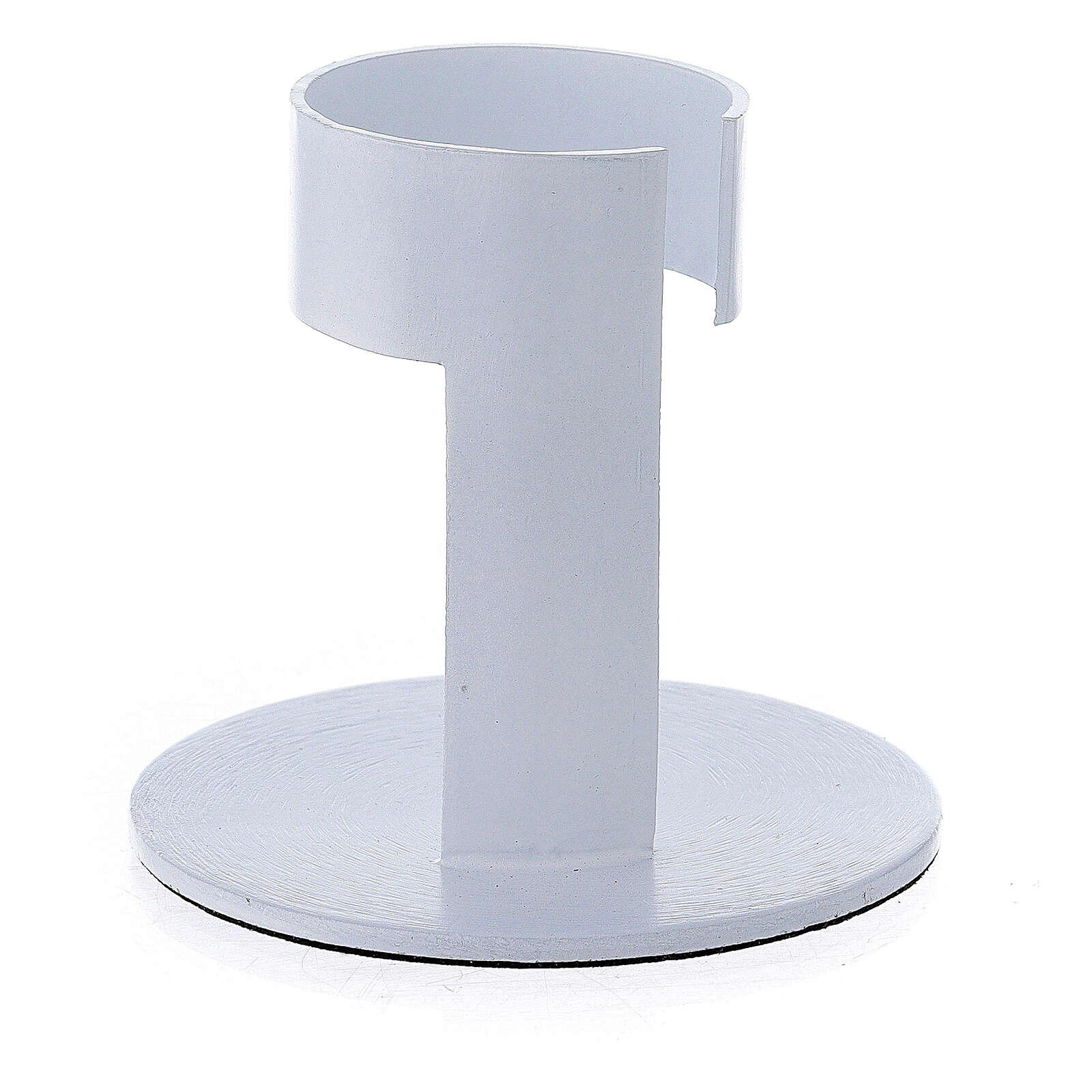 White aluminium candle holder with open band 1 1/2 in 3