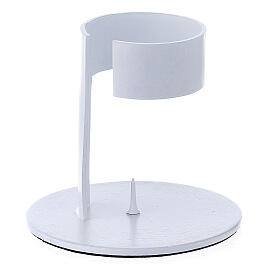 White aluminium candle holder with open band 1 1/2 in s2