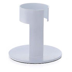 White aluminium candle holder with open band 1 1/2 in s3