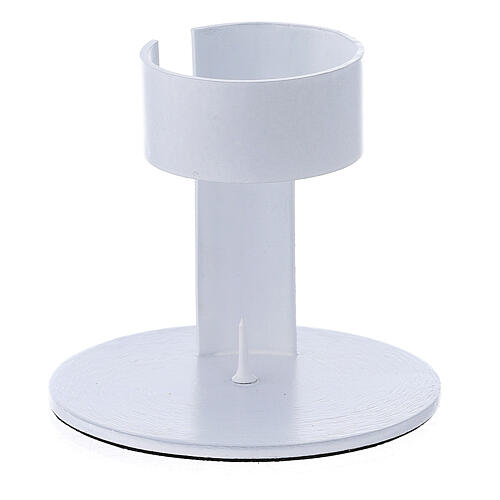 White aluminium candle holder with open band 1 1/2 in 1