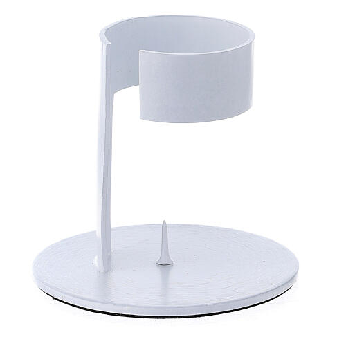 White aluminium candle holder with open band 1 1/2 in 2