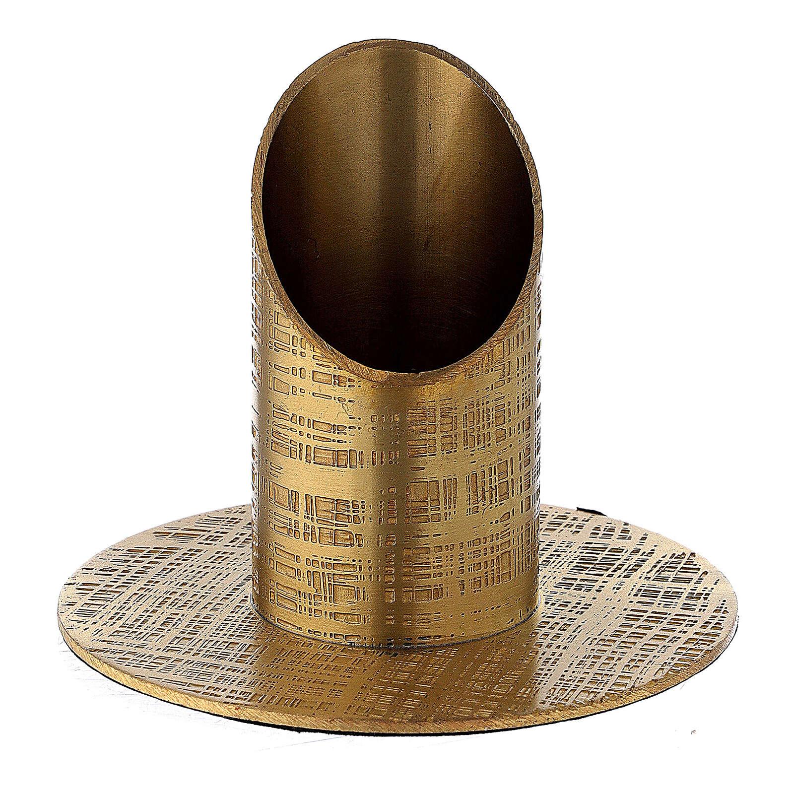 Portavela latón dorado efecto cuero 3 cm 4
