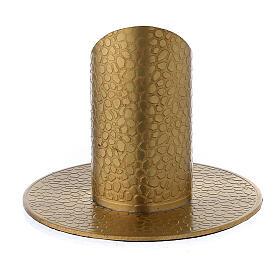 Portavela latón dorado efecto cuero 3 cm s3