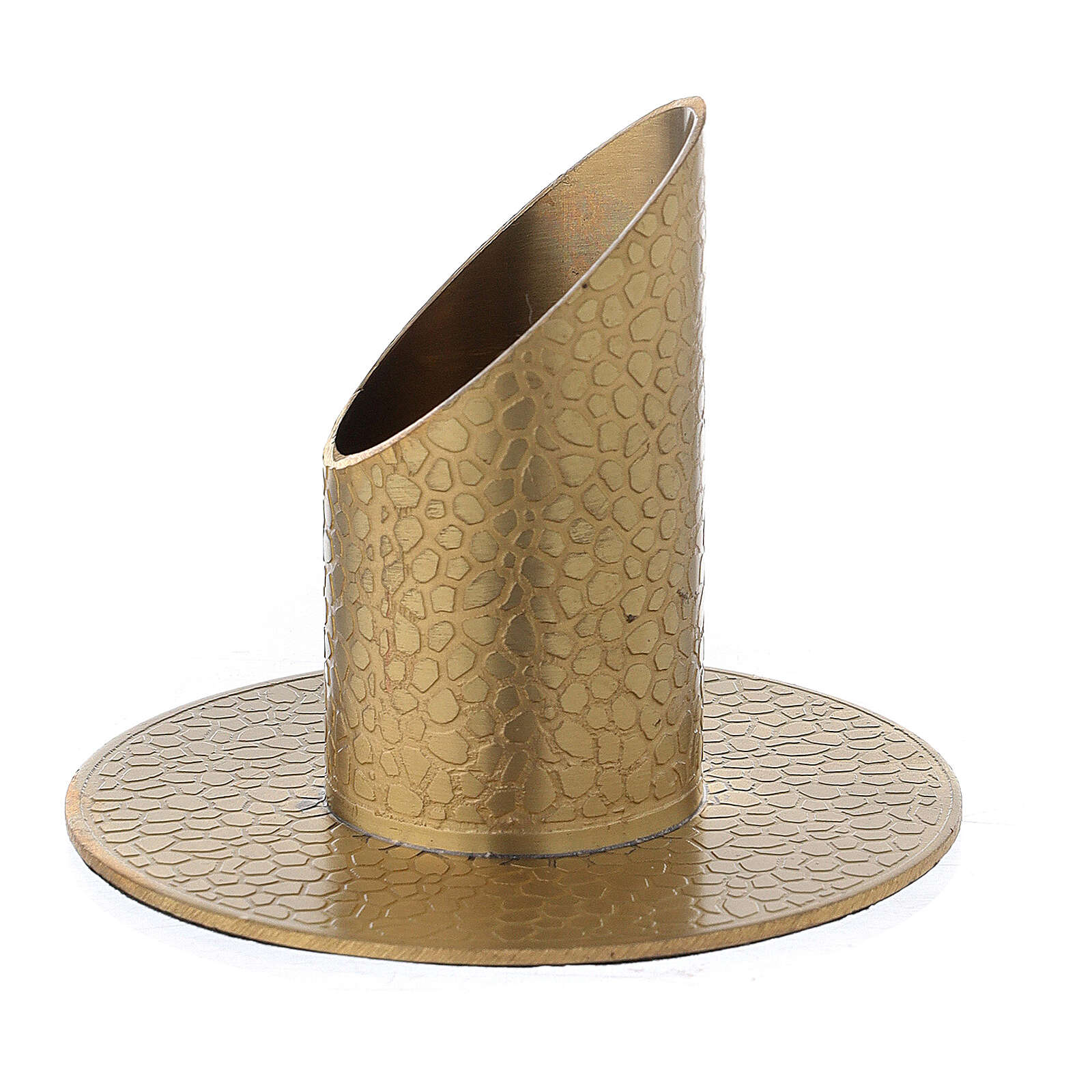 Gold plated brass candle holder with leather finish 1 1/4 in 4