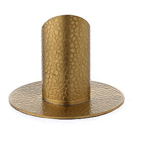 Gold plated brass candle holder with leather finish 1 1/4 in s1