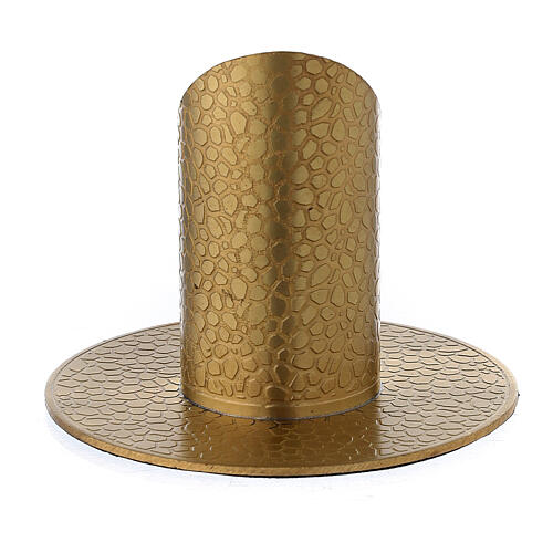 Gold plated brass candle holder with leather finish 1 1/4 in 3