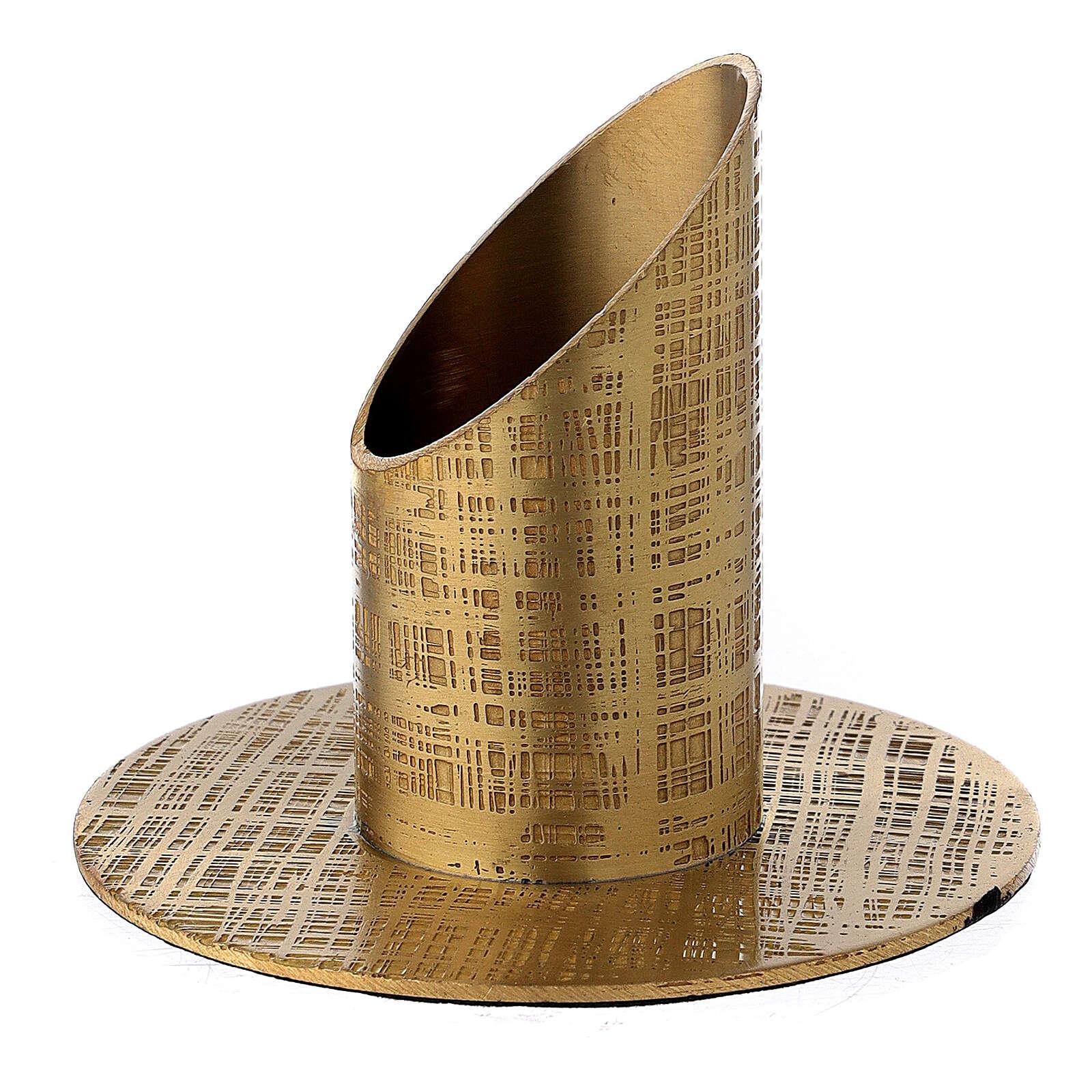 Portavela latón satinado design líneas 3 cm 4