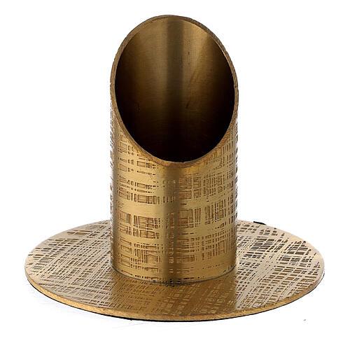 Portavela latón satinado design líneas 3 cm 1