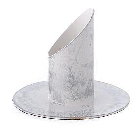 Portavela blanco esponjado plata hierro 3 cm s2