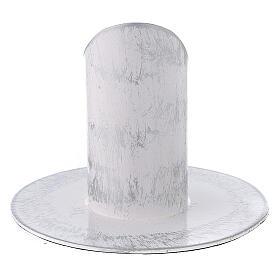 Portavela blanco esponjado plata hierro 3 cm s3