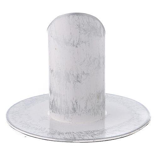 Portavela blanco esponjado plata hierro 3 cm 3