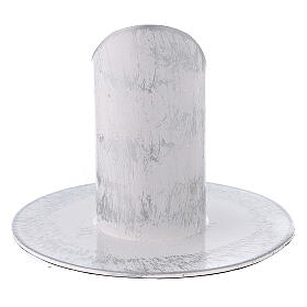 White and silver metal candle holder 1 1/4 in s3