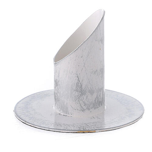 White and silver metal candle holder 1 1/4 in 2