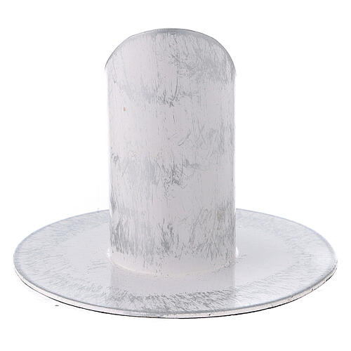 White and silver metal candle holder 1 1/4 in 3