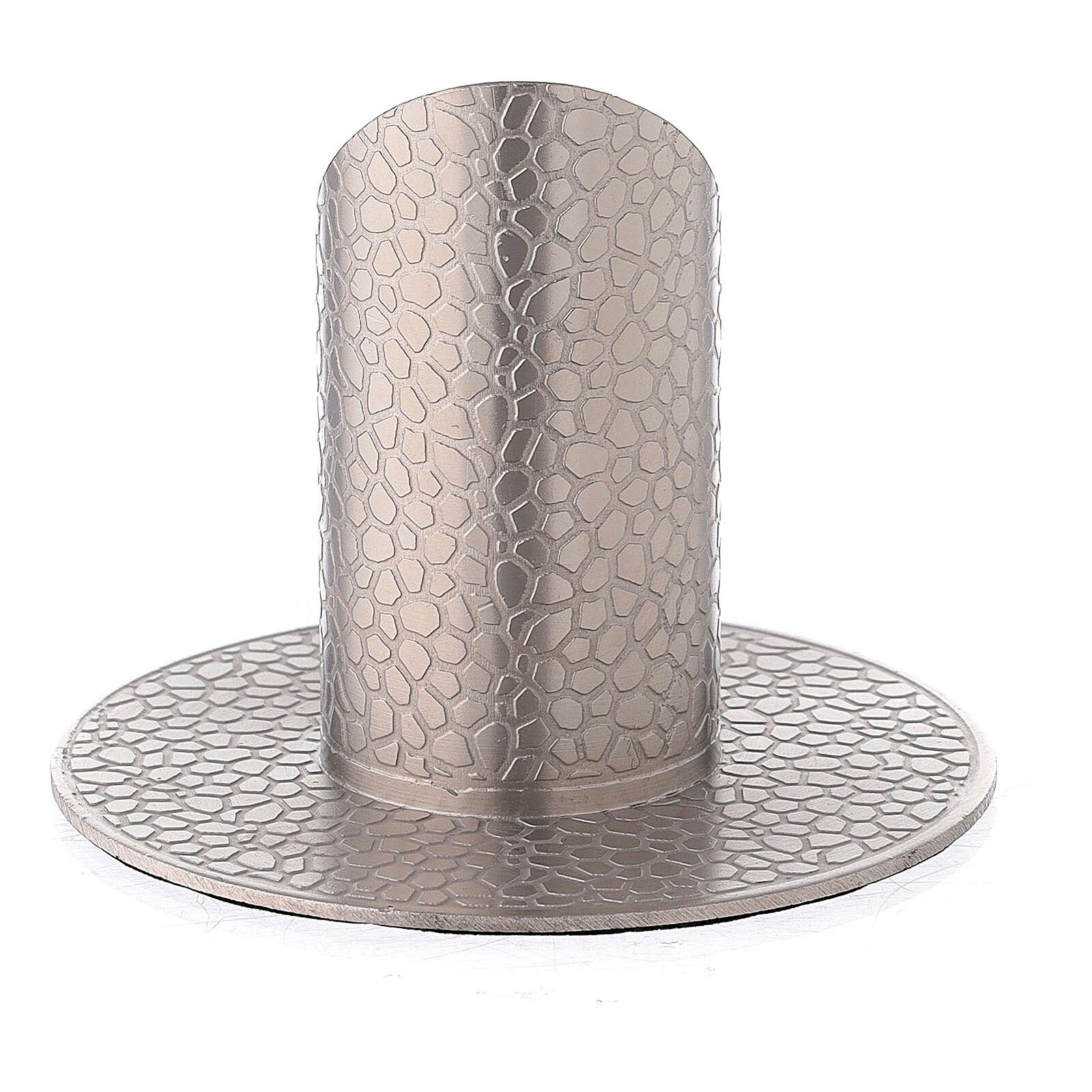 Nickel-plated brass candle holder with leather effect 1 1/4 in 3