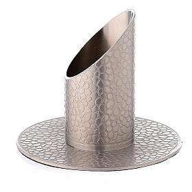Nickel-plated brass candle holder with leather effect 1 1/4 in s2