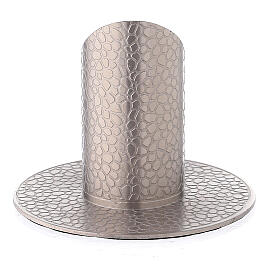 Nickel-plated brass candle holder with leather effect 1 1/4 in s3