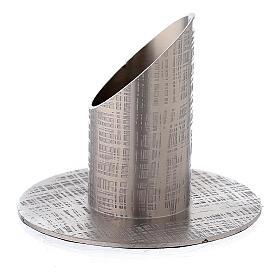 Portavela efecto tejido latón niquelado 3 cm s2