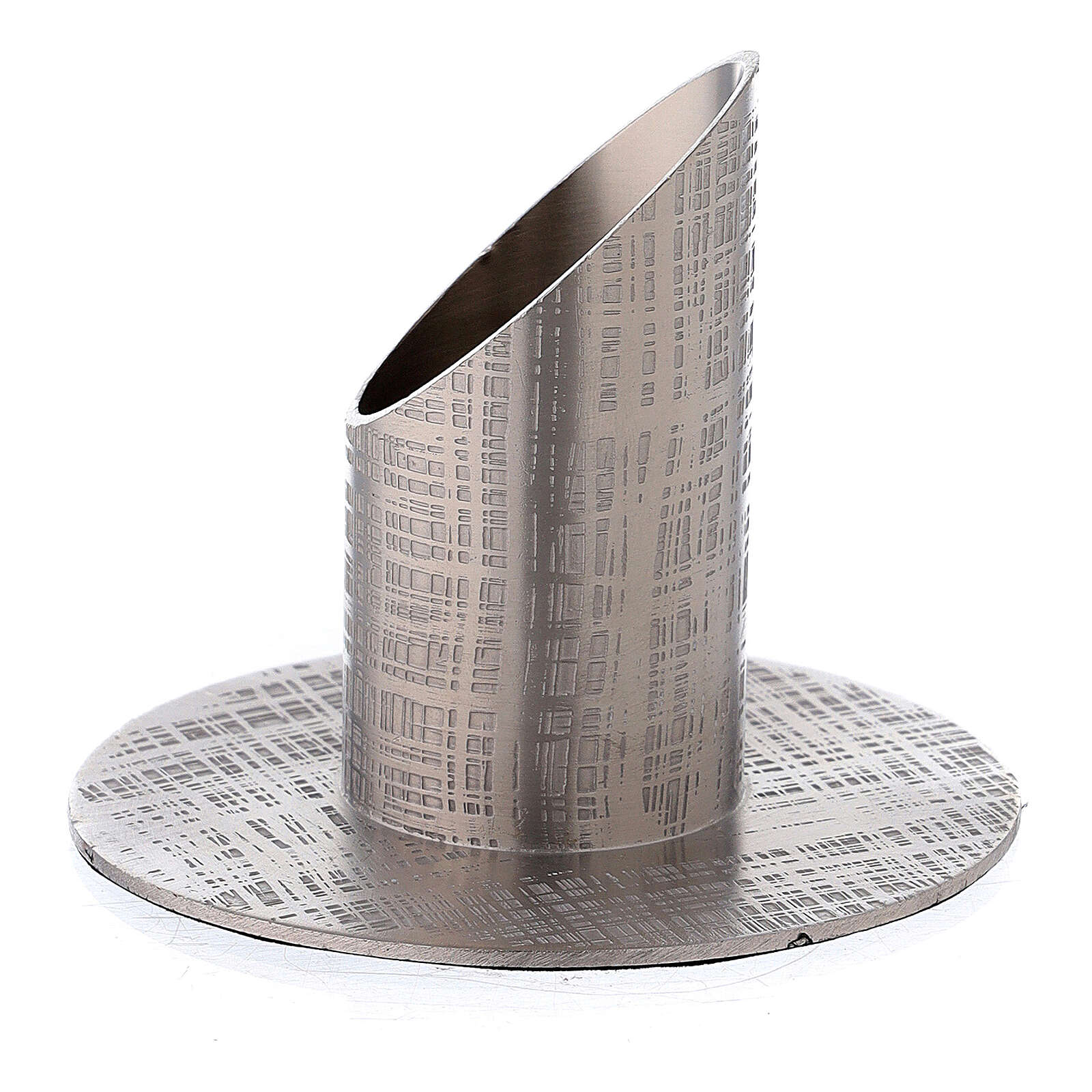 Nickel-plated brass candle holder with fabric effect 1 1/4 in 3