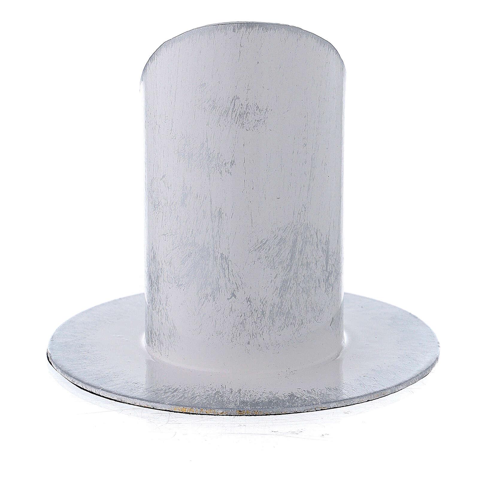 Portavela blanco plata hierro 4 cm 3