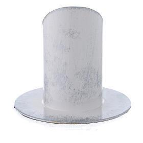 Portavela blanco plata hierro 4 cm s3