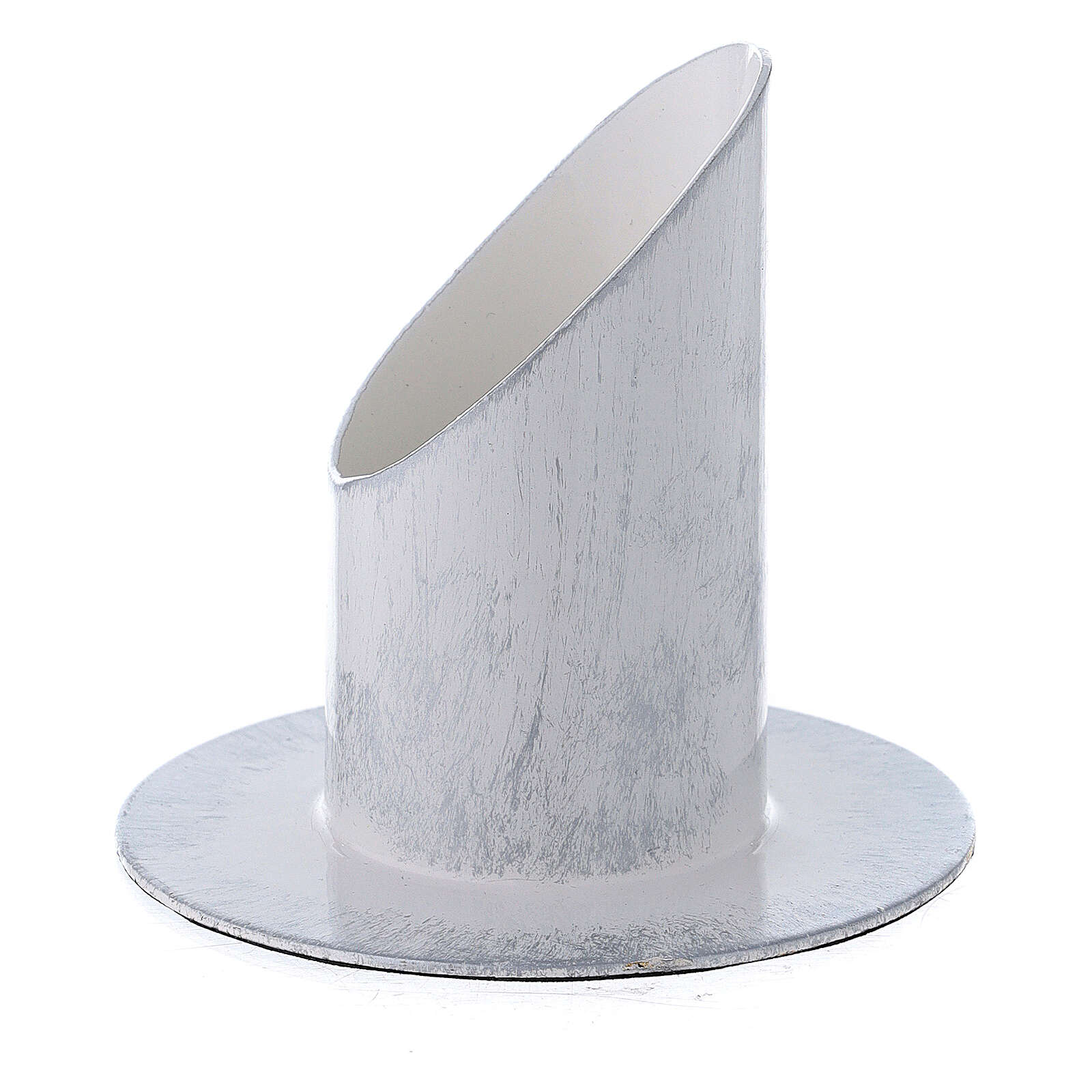 Portacandela bianco argento ferro 4 cm 3