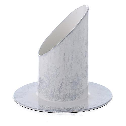 Portacandela bianco argento ferro 4 cm 2