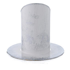 White and silver metal candle holder 1 1/2 in s3