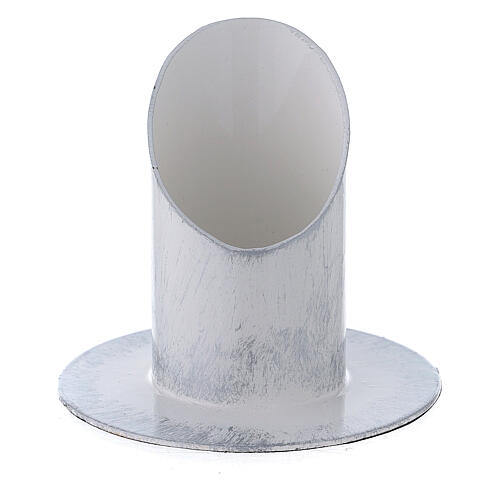 White and silver metal candle holder 1 1/2 in 1