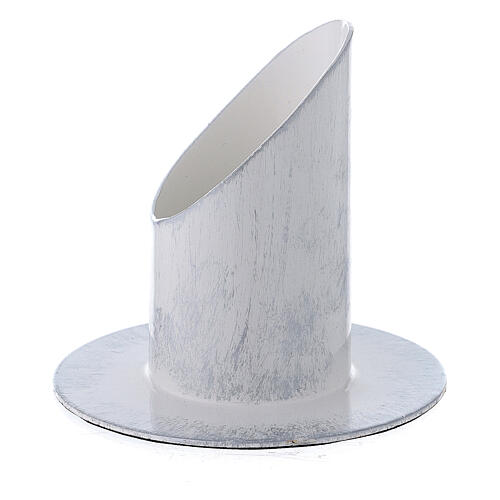 White and silver metal candle holder 1 1/2 in 2
