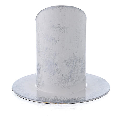 White and silver metal candle holder 1 1/2 in 3