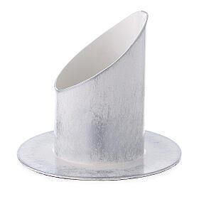Bougeoir 5 cm fer blanc argent s2