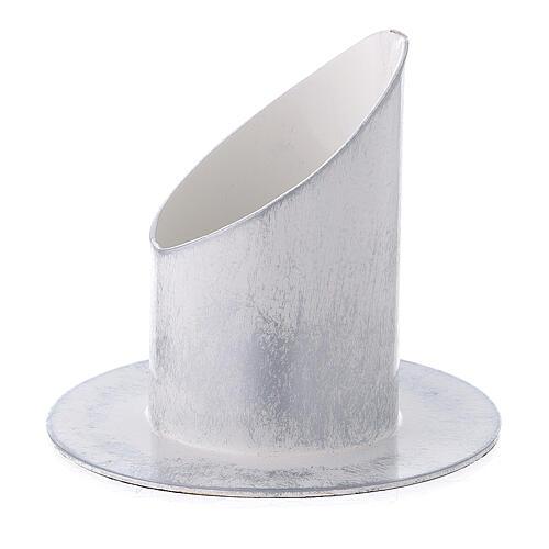 Bougeoir 5 cm fer blanc argent 2