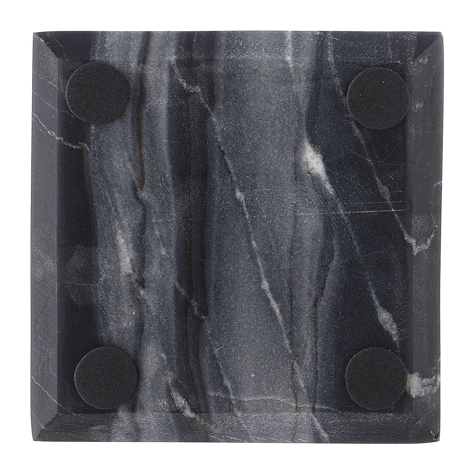 Piatto portacandela quadrato pietra naturale 10x10 cm 3
