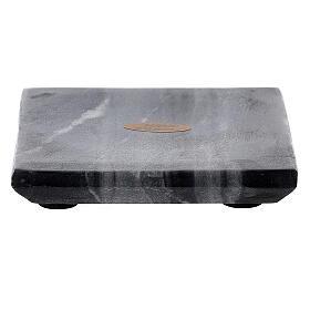 Piatto portacandela quadrato pietra naturale 10x10 cm s1