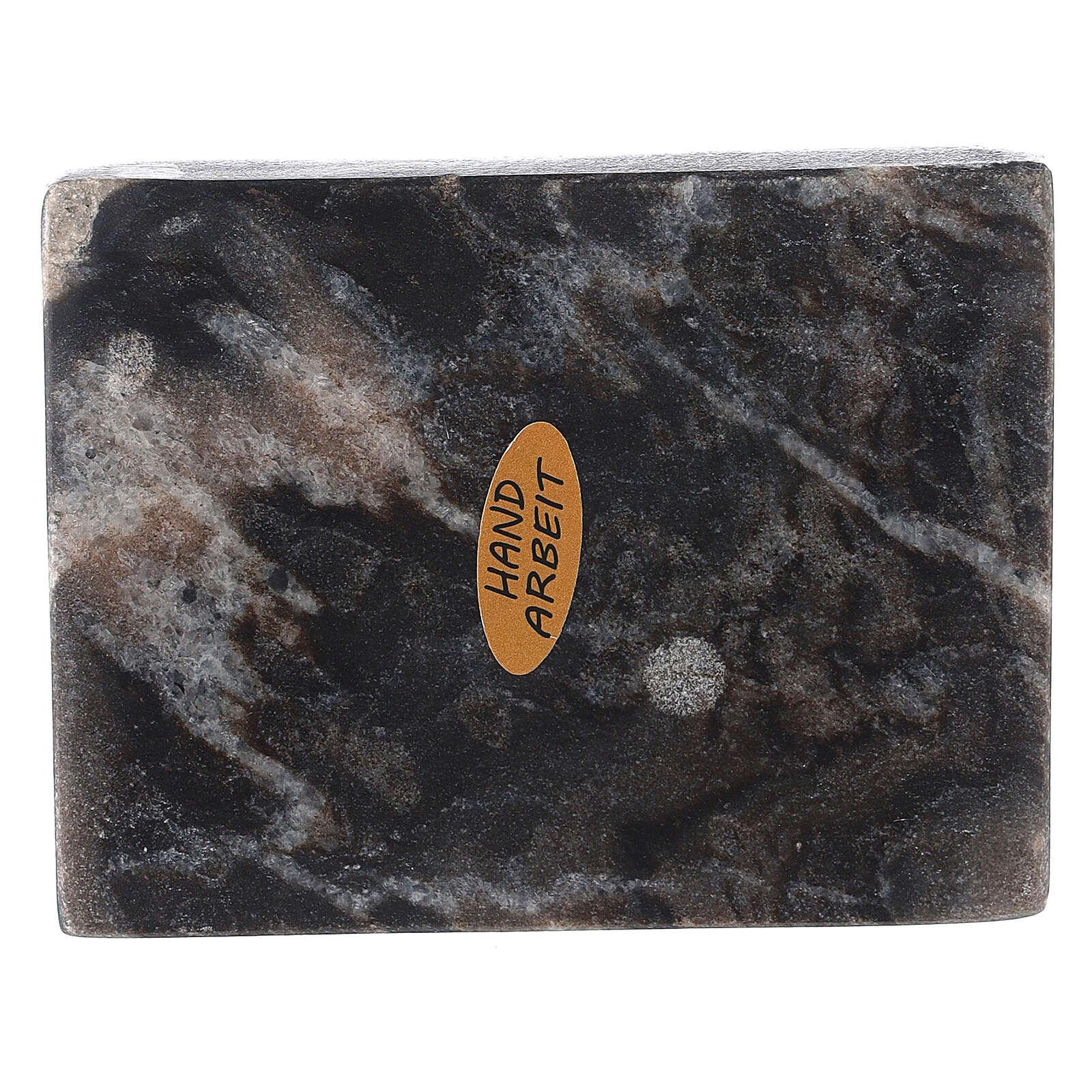 Plato portavela rectangular piedra natural 10x8 cm 3