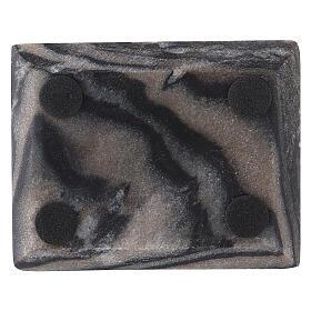 Piatto portacandela rettangolo pietra naturale 10x8 cm s3