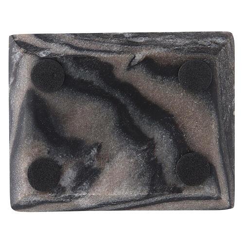 Piatto portacandela rettangolo pietra naturale 10x8 cm 3