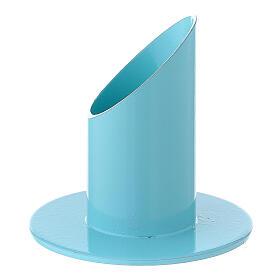 Portavela azul pastel 4 cm hierro s2