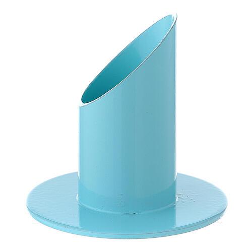 Portavela azul pastel 4 cm hierro 2