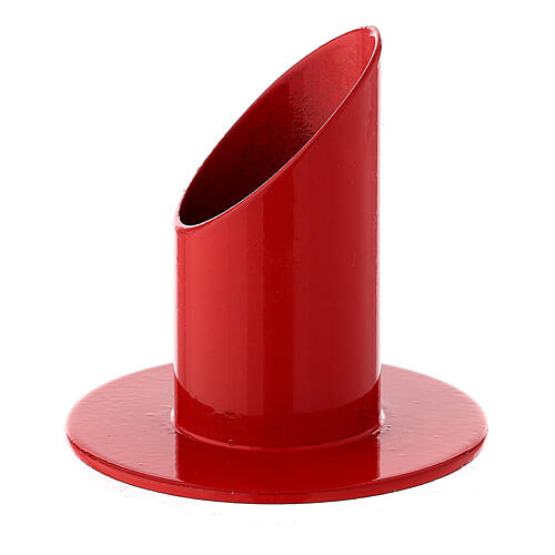 Red metal candle holder 1 1/4 in 2