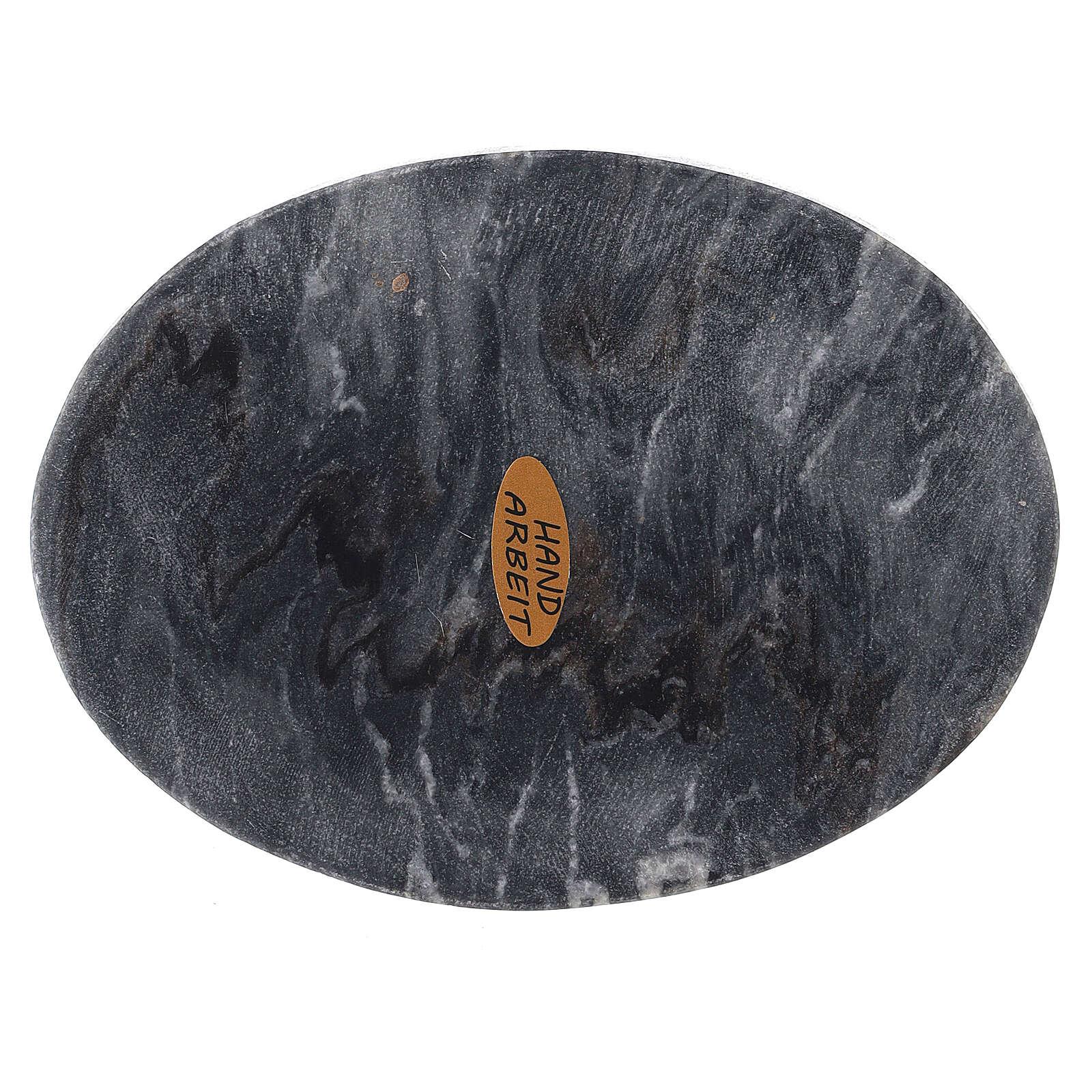 Assiette porte-bougie ovale pierre naturelle 13x10 cm 3