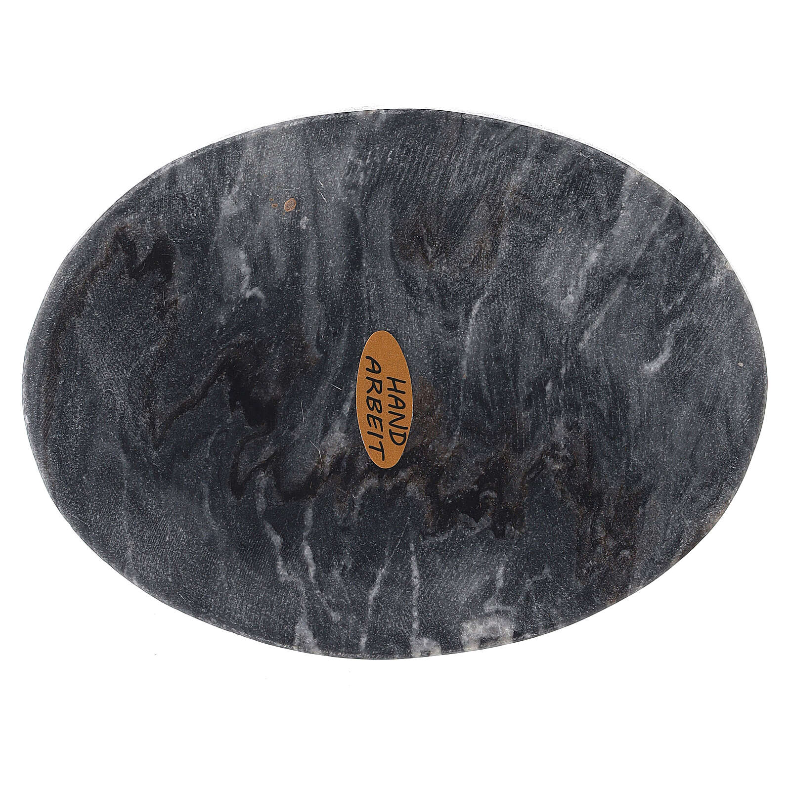 Oval stone candle holder plate 5x4 in 3