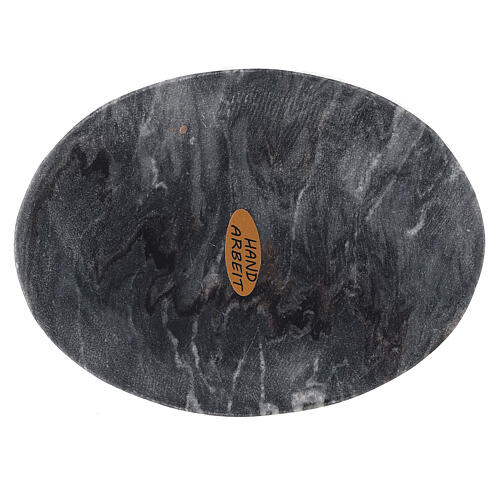 Oval stone candle holder plate 5x4 in 1